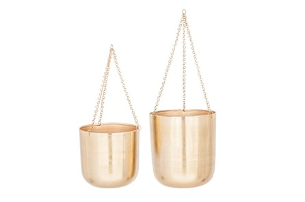 Set Of 2 Shiny Gold Hanging Planters - Main