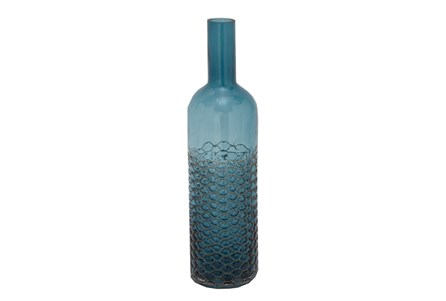 17 Inch Tinted Teal Glass Bottle