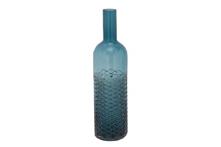 17 Inch Tinted Teal Glass Bottle - Main
