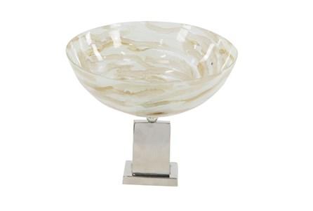 12 Inch Marble Look Pedestal Bowl