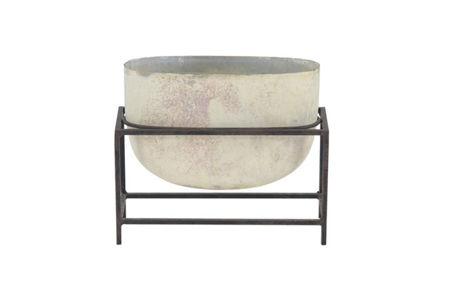 11 Inch Cement Bowl On Stand - 360