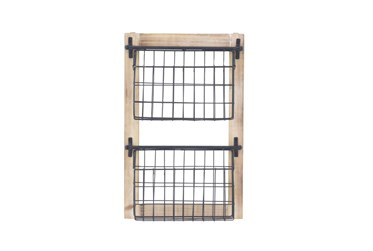 Wood And Metal Wall Baskets