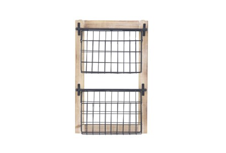 Wood And Metal Wall Baskets