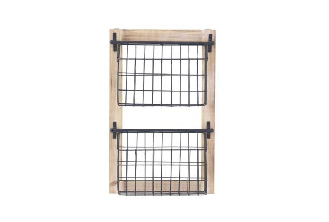 Wood And Metal Wall Baskets - 360