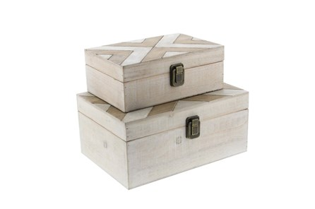 2 Piece Set Carved Wooden Box - Main
