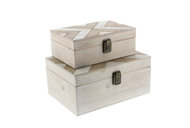 2 Piece Set Carved Wooden Box - 360
