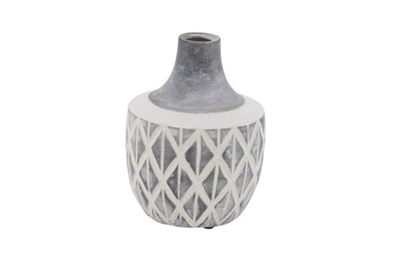 10 Inch Carved Grey Ceramic Vase