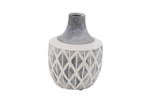 10 Inch Carved Grey Ceramic Vase - 360