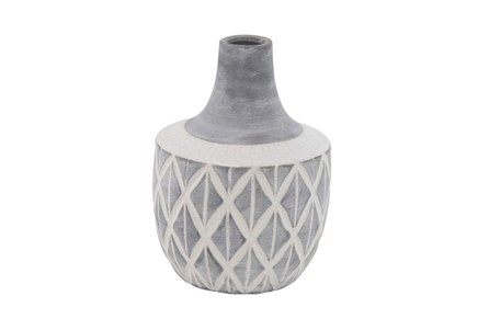 11 Inch Carved Grey Ceramic Vase