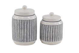 Set Of 2 Feather Textured Jars