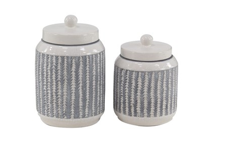 Set Of 2 Feather Textured Jars - Main