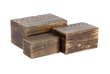Set Of 3 Wood Carved Boxes