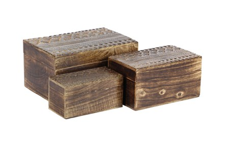 Set Of 3 Wood Carved Boxes - Main