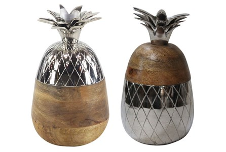 Youth-Set Of 2 Wood And Metal Pineapple