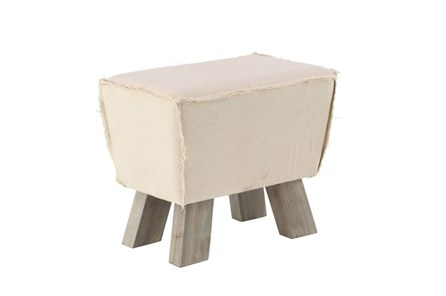 Square Natural Stool With Wood Legs - Main