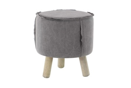 Round Grey Stool With Wood Legs