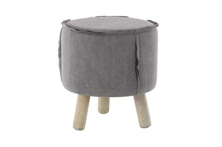 Round Grey Stool With Wood Legs - Main