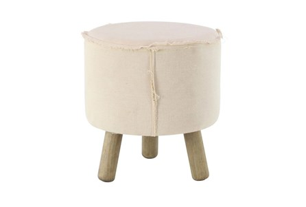 Round Natural Stool With Wood Legs