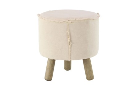 Round Natural Stool With Wood Legs - Main