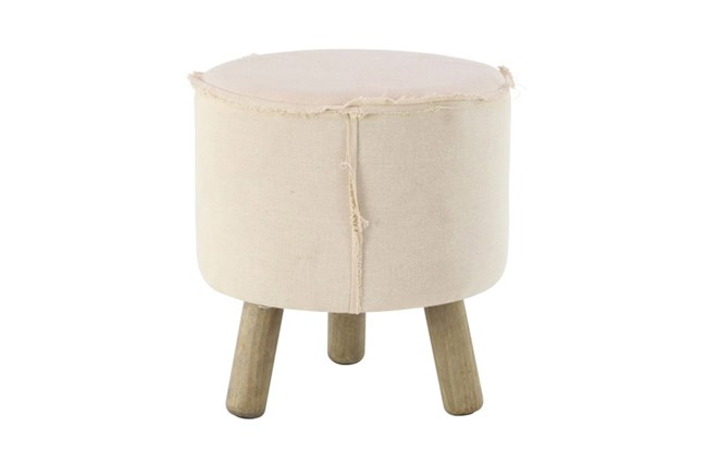 Round Natural Stool With Wood Legs - 360
