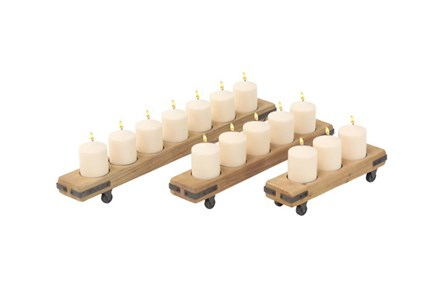 Set Of 3 Wood Metal Candle Holders