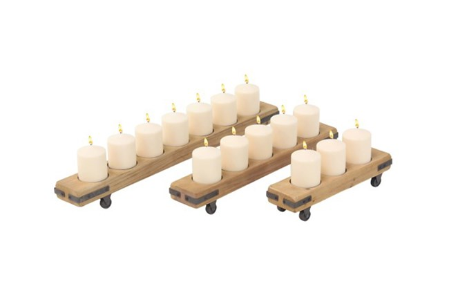 Set Of 3 Wood Metal Candle Holders - 360