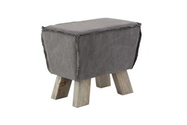 Square Grey Stool With Wood Legs