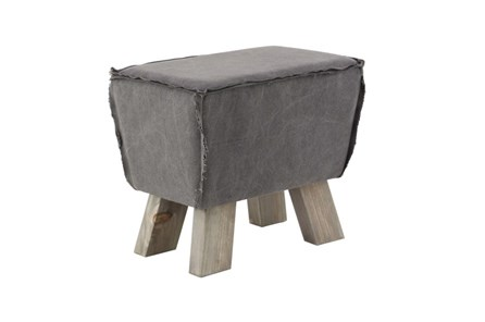 Square Grey Stool With Wood Legs - Main