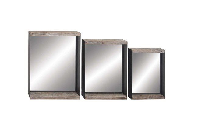3 Piece Set Square Wood Wall Mirrors - 360