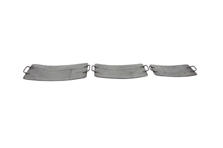 Set Of 3 Grey Metal Trays