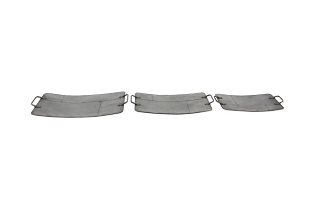 Set Of 3 Grey Metal Trays - 360