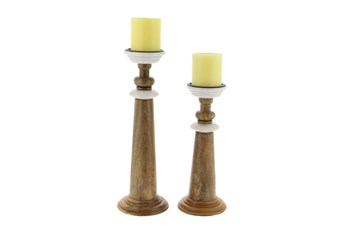 2 Piece Set Wood & Marble Candle Holders