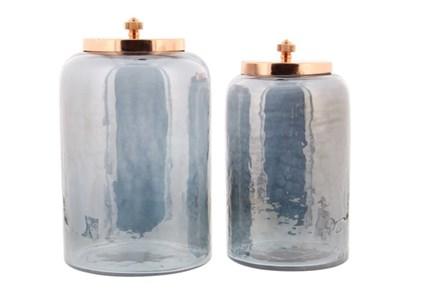 2 Piece Set Glass Metal Jar
