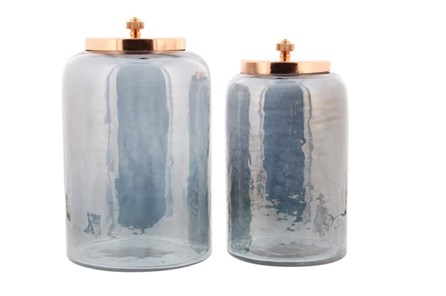 2 Piece Set Glass Metal Jar - Main