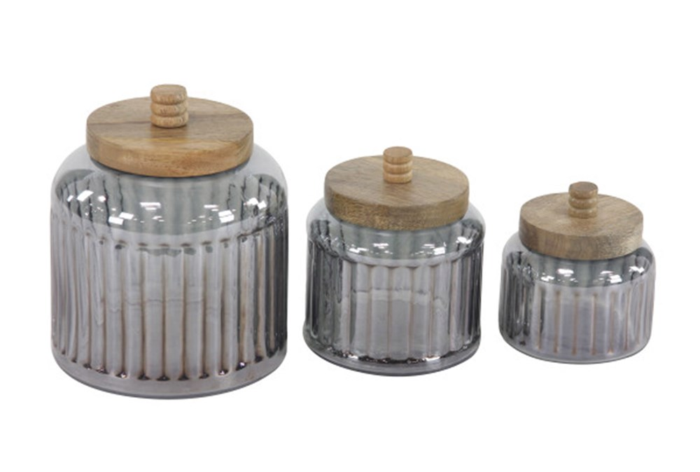 Set Of 3 Glass Jars With Wood Lid