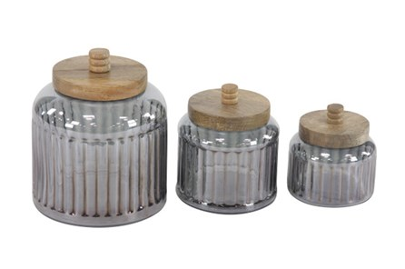 Set Of 3 Glass Jars With Wood Lid - Main