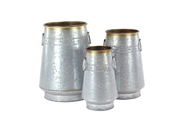 Set Of 3 Galvanized Metal Planters - 360