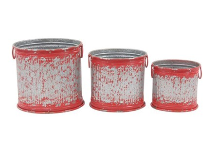 Set Of 3 Red And Metal Planters