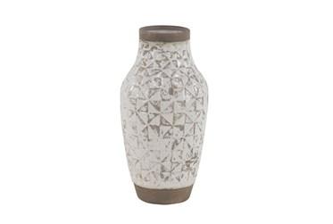 17 Inch White Wash Ceramic Vase