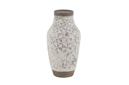 17 Inch White Wash Ceramic Vase