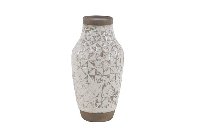 17 Inch White Wash Ceramic Vase - 360