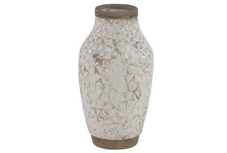 13 Inch White Wash Ceramic Vase