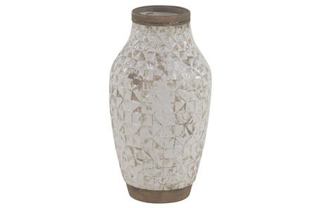 13 Inch White Wash Ceramic Vase
