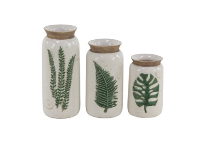 Set Of 3 Palm Leaf Vases