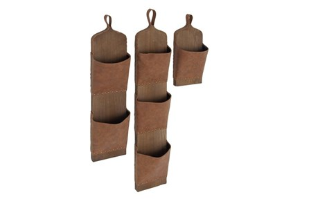 Set Of 3 Wood And Leather Wall Pockets