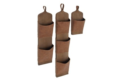Set Of 3 Wood And Leather Wall Pockets - Main