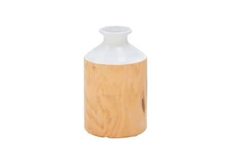 12 Inch Wood And White Jar - Main