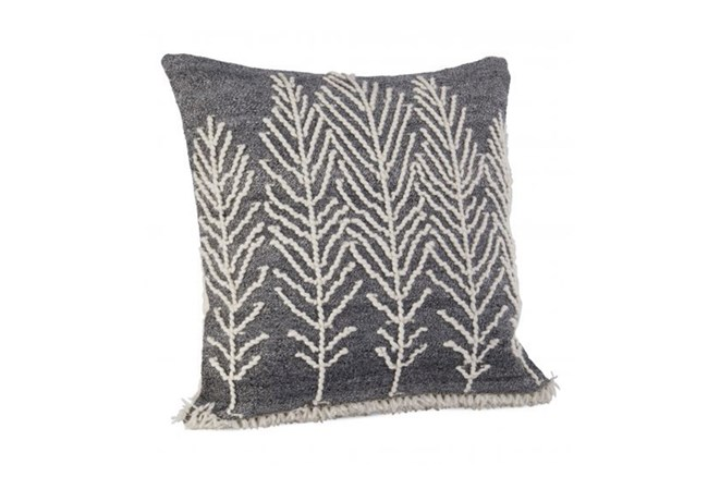 Accent Pillow-Grey And Ivory Leaves 22X22 - 360