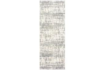 27X90 Rug-Distressed Soft Shag Ivory/Grey