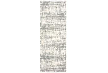 """2'3""""x7'5"""" Rug-Distressed Soft Shag Ivory/Grey"""